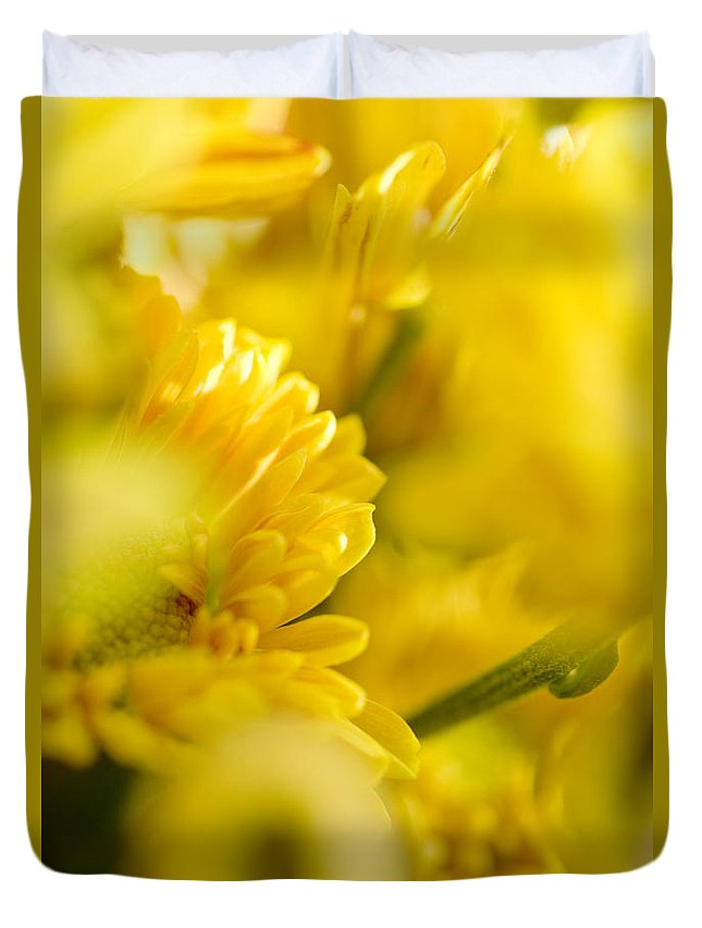 83-pfs0170 Duvet Cover featuring the photograph Flower Abstract by Ray Laskowitz - Printscapes