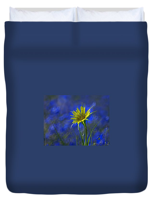 Flower Duvet Cover featuring the photograph Flower And Flax by Heather Coen