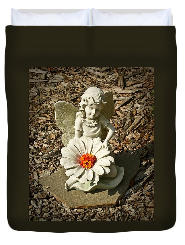 Angel Duvet Cover featuring the photograph Flower Angel by Douglas Barnett