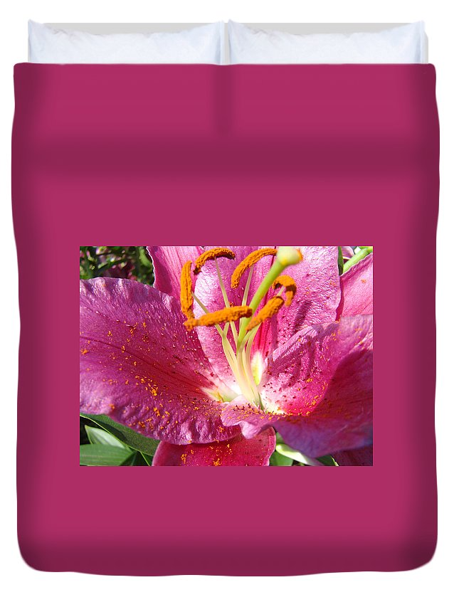 Lily Duvet Cover featuring the photograph Flower Art Prints Pink Orange Lily Flower Giclee Baslee Troutman by Baslee Troutman