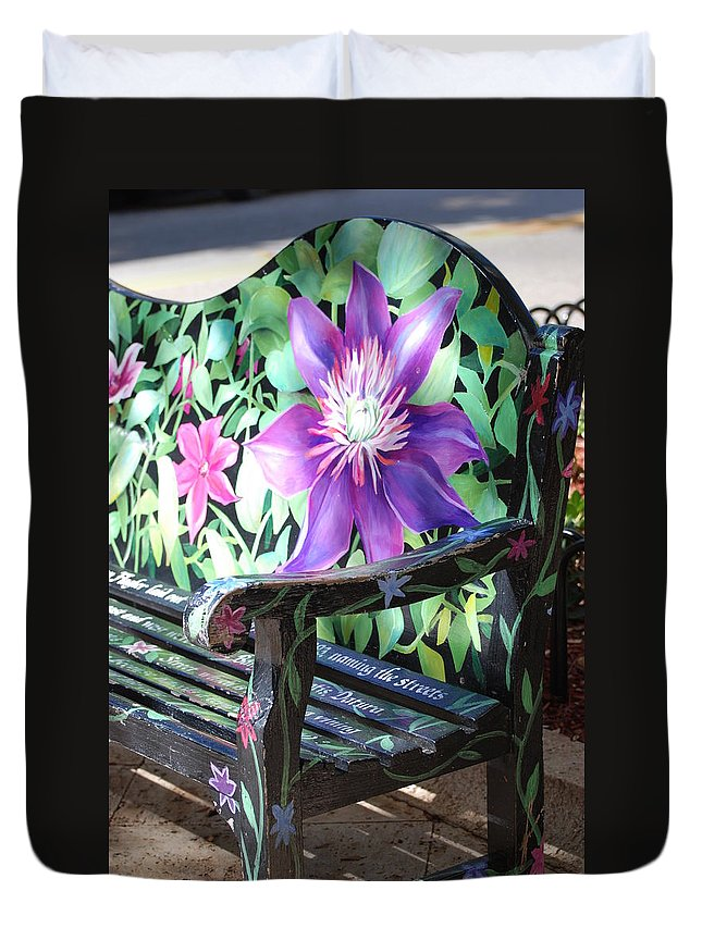 Macro Duvet Cover featuring the photograph Flower Bench by Rob Hans