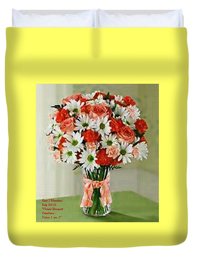 Nature Flower Duvet Cover featuring the painting Flower Bouquet Creations Catus 1 No. 1 by Gert J Rheeders