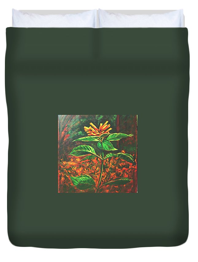 Flower Duvet Cover featuring the painting Flower Branch by Usha Shantharam