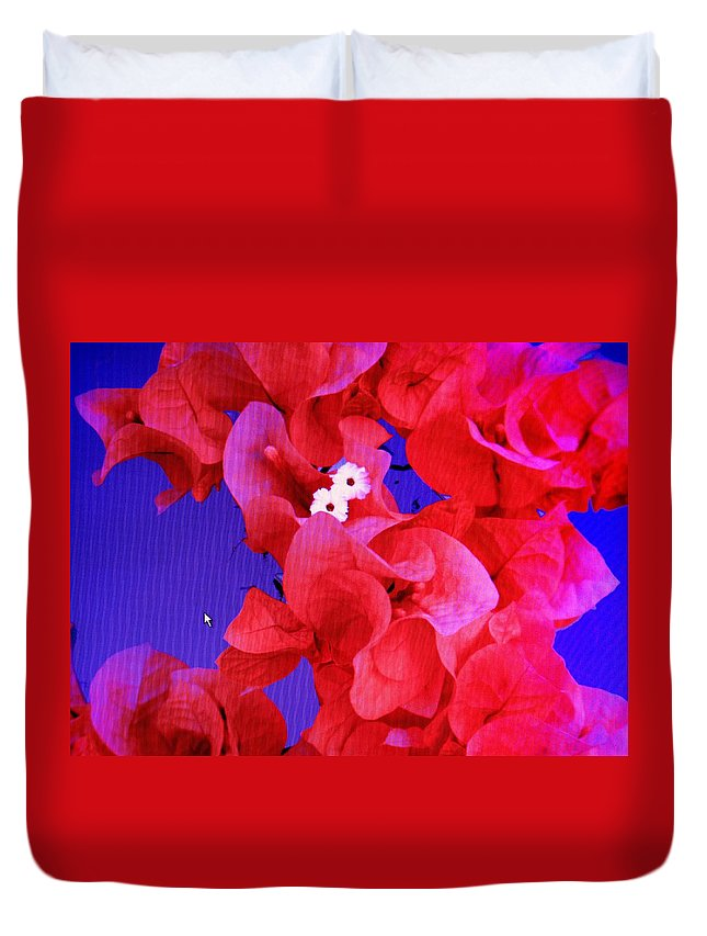 Red Duvet Cover featuring the photograph Flower Fantasy by Ian MacDonald