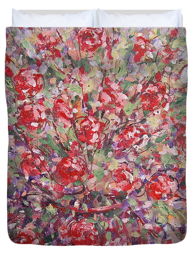 Painting Duvet Cover featuring the painting Flower Feelings. by Leonard Holland