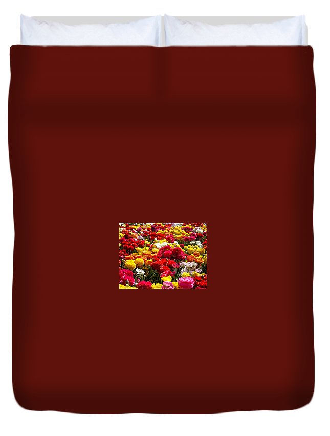 Flowers Duvet Cover featuring the photograph Flower Field by Patrick Frei