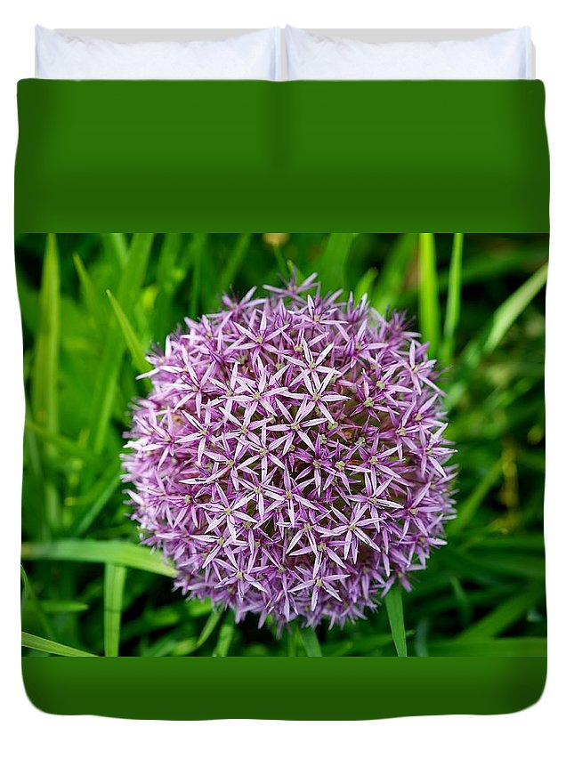 Flower Ball Purple Green Duvet Cover featuring the photograph Flower Fireworks by Rick Takagi