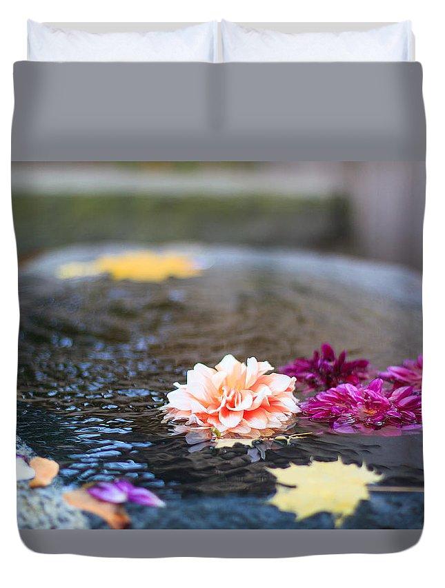 Flower Duvet Cover featuring the photograph Flower Floats by Daniel Frigo