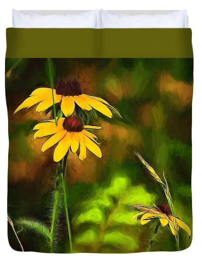 Flowers Duvet Cover featuring the painting Flower Friends by Theresa Campbell