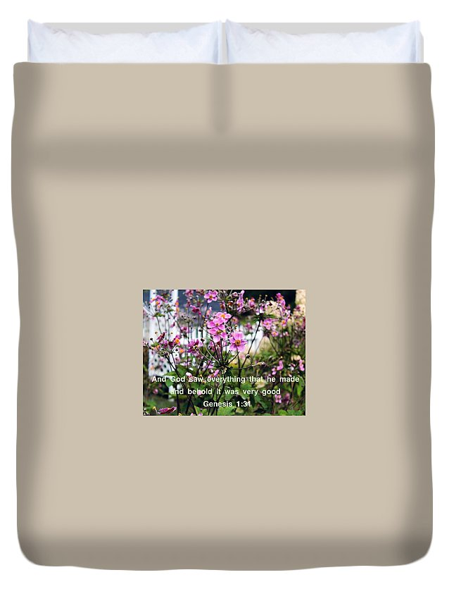 Genesis 1:31 Duvet Cover featuring the photograph Flower Garden by Beth Tidd