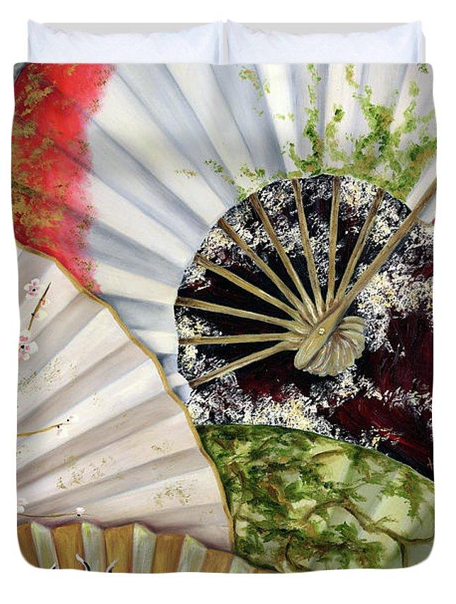 Japanese Duvet Cover featuring the painting Flower Garden by Hiroko Sakai