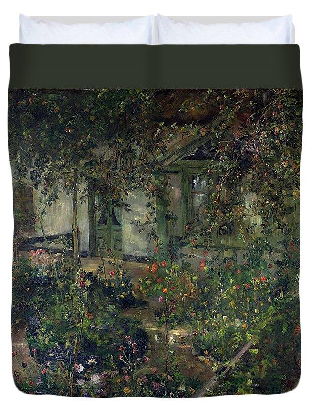 Flower Garden In Bloom Duvet Cover featuring the painting Flower Garden In Bloom by Franz Heinrich Louis