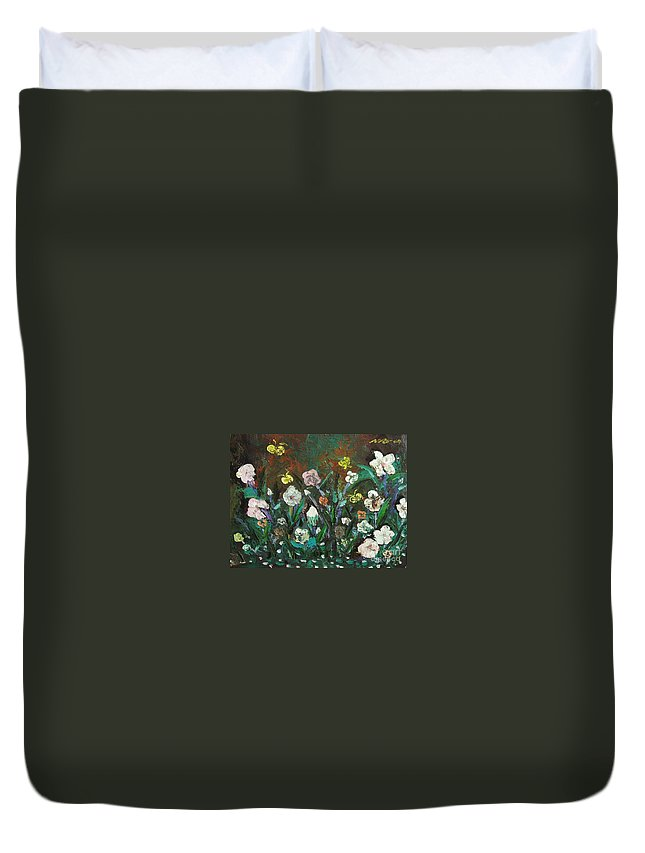 Abstract Paintings Duvet Cover featuring the painting Flower Garden by Seon-Jeong Kim