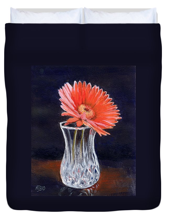 Flower Duvet Cover featuring the painting Flower In Crystal Vase by Michael Beckett