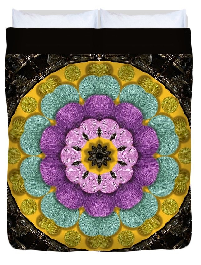Flower Duvet Cover featuring the mixed media Flower In Paradise by Pepita Selles