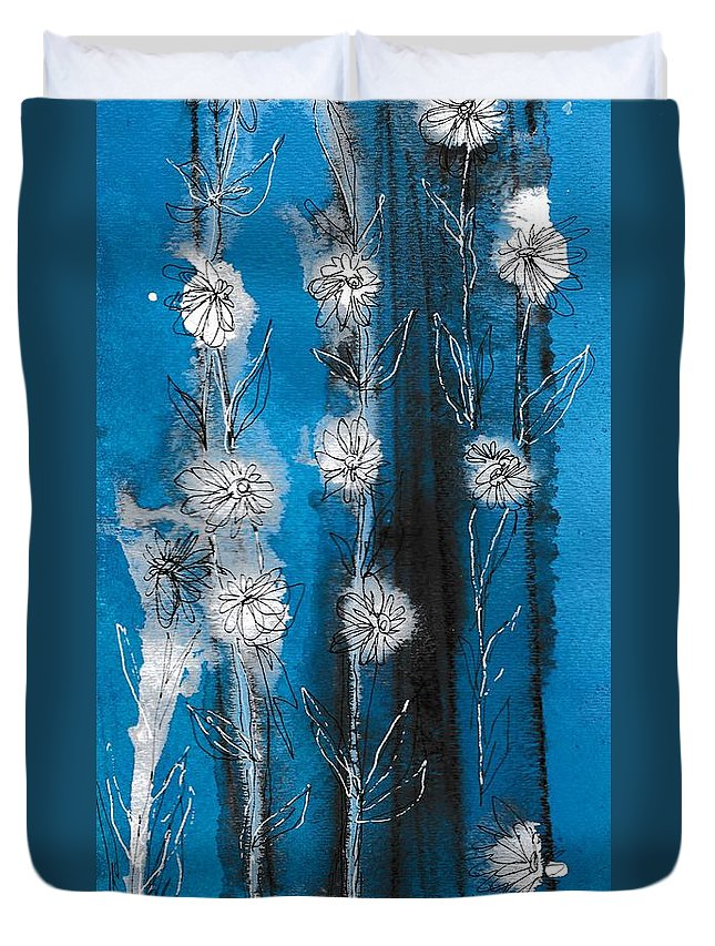 Art Duvet Cover featuring the painting Flower Lineup by Louise Adams