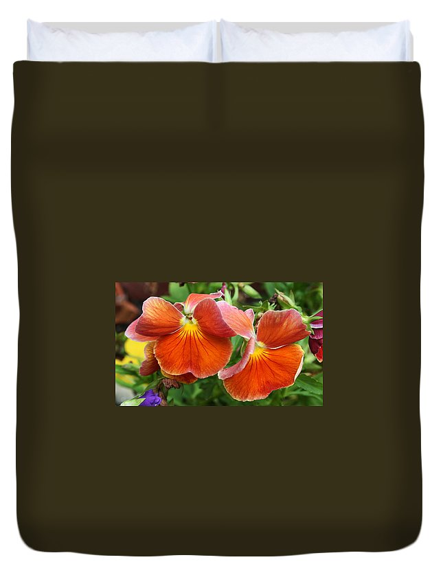Flowers Duvet Cover featuring the photograph Flower Lips by Linda Sannuti