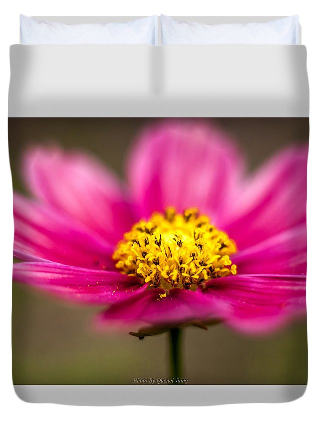 Red Duvet Cover featuring the photograph Flower Macro by Qing Jiang