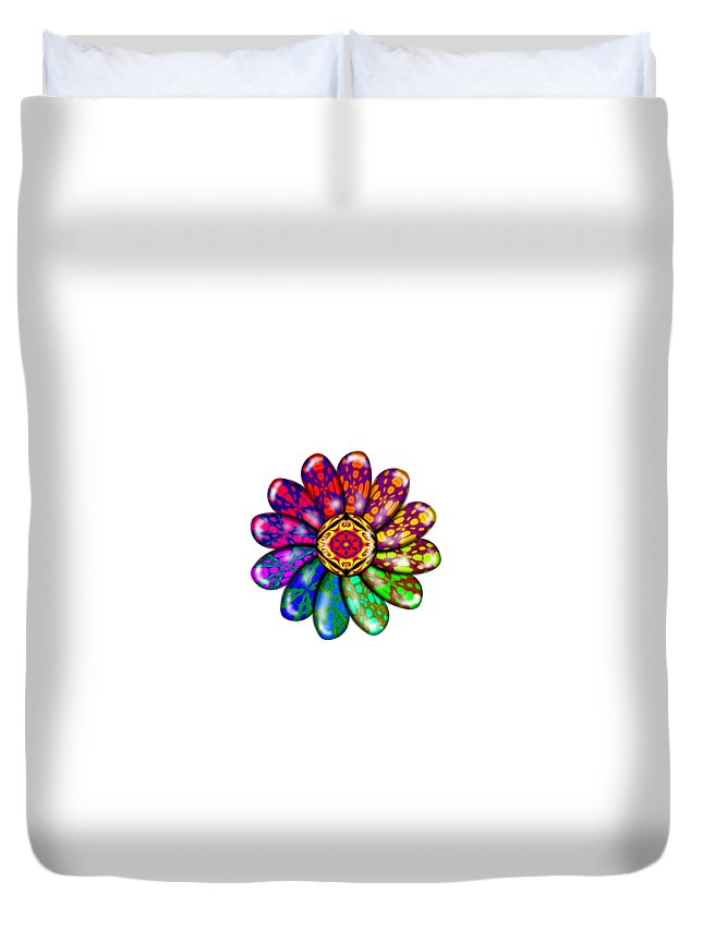 Digital Duvet Cover featuring the digital art Flower Mandala 6 by Salena Angel