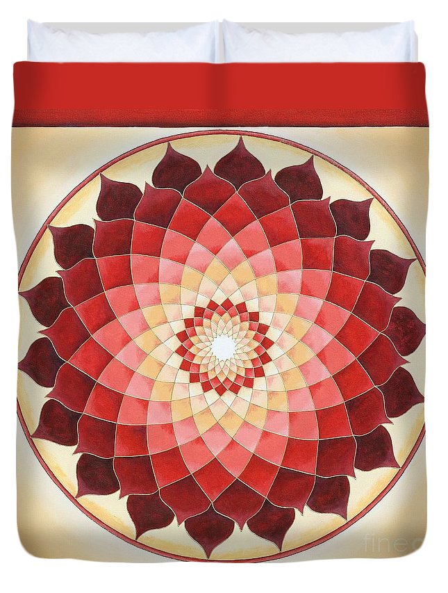 Mandala Duvet Cover featuring the painting Flower Of Life by Charlotte Backman