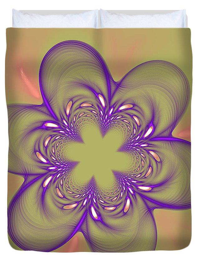 Fractal Duvet Cover featuring the photograph Flower Of Pink - Purple by Deborah Benoit