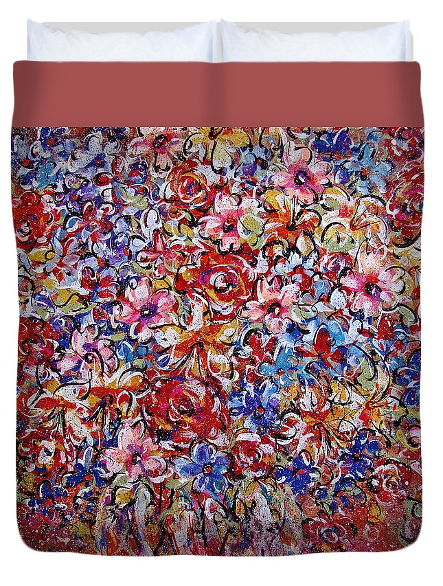 Flowers Duvet Cover featuring the painting Flower Passion by Natalie Holland