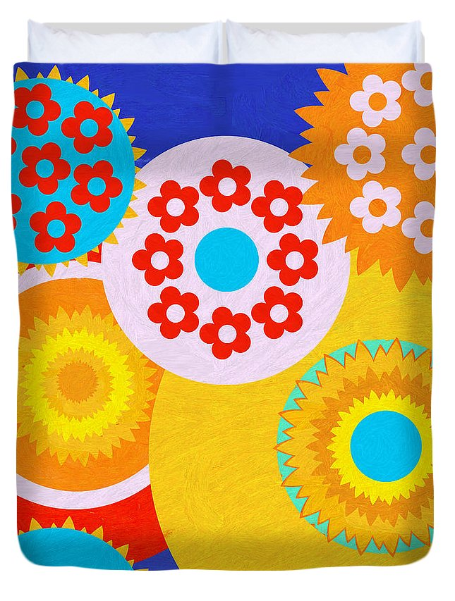 Flowers Duvet Cover featuring the painting Flower Power by D Tao
