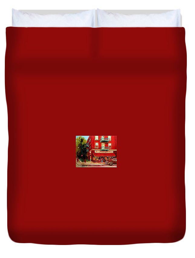 Fairmount Street Duvet Cover featuring the painting Flower Shop On The Corner by Carole Spandau