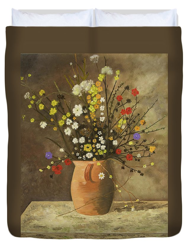 Flowers Duvet Cover featuring the painting Flower Vase by Neil Gallagher