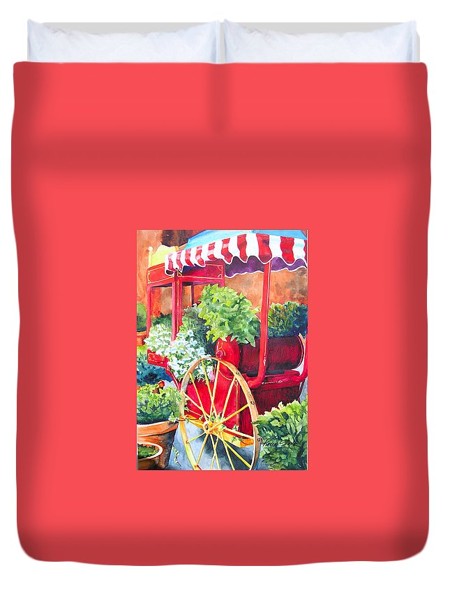 Floral Duvet Cover featuring the painting Flower Wagon by Karen Stark