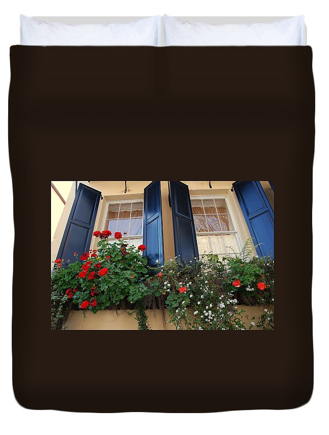 Window Duvet Cover featuring the photograph Flower Window In Charleston Sc by Susanne Van Hulst