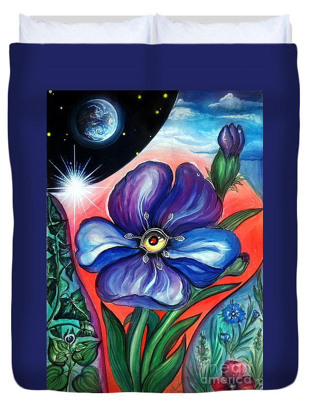Plant Duvet Cover featuring the painting Flower With Eye. Plant From Space by Sofia Metal Queen
