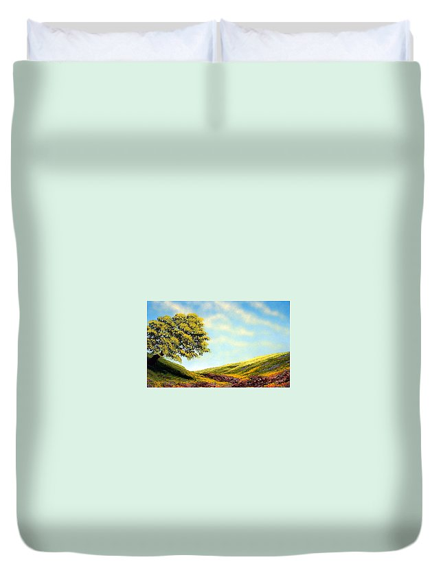Wildflowers Duvet Cover featuring the painting Flowered Fields by Frank Wilson