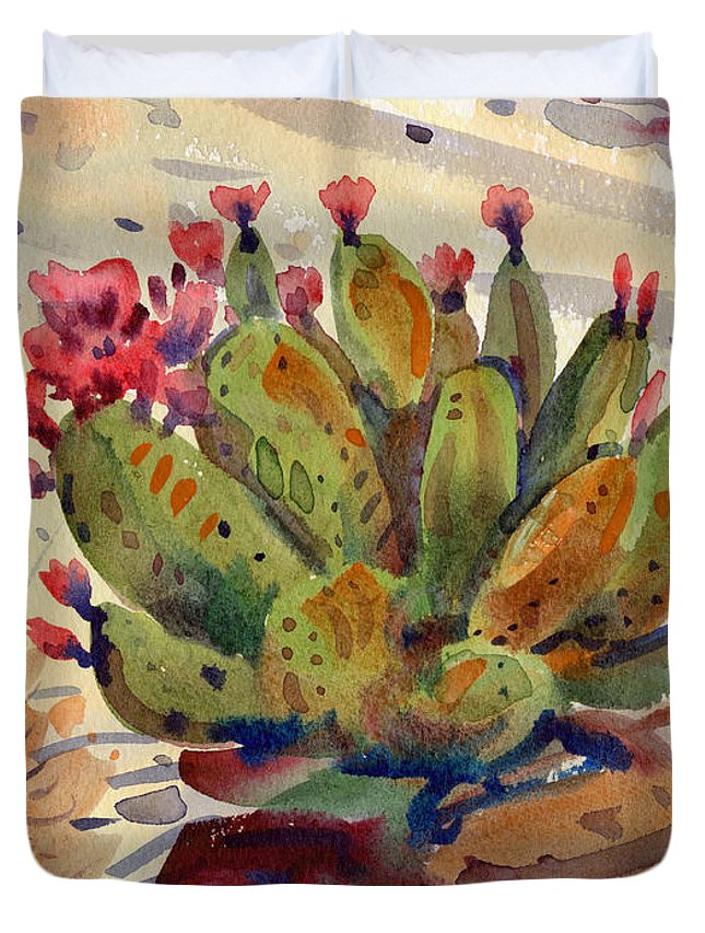 Opuntia Cactus Duvet Cover featuring the painting Flowering Opuntia by Donald Maier