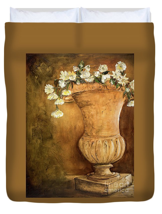 Urn Painting Duvet Cover featuring the painting Flowering Urn by Jodi Monahan