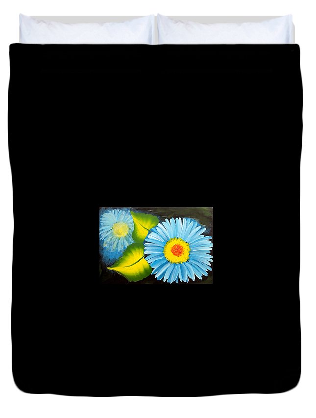 Floral Duvet Cover featuring the painting Flowers 28 by Jennilyn Villamer Vibar