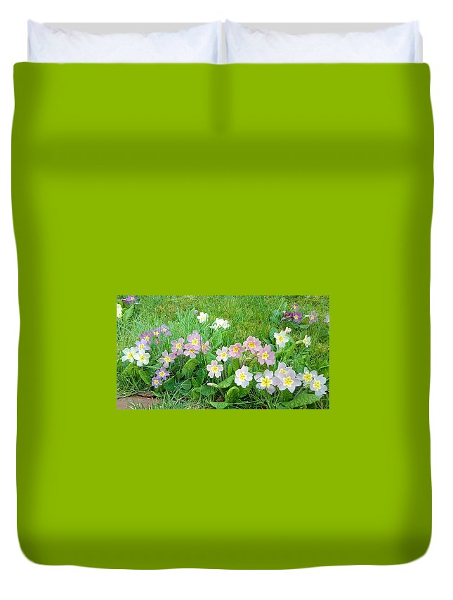 Sweet Duvet Cover featuring the photograph Flowers Along The Edge 1006 by Julia Woodman