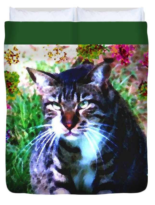 Cat Grey Attention Grass Flowers Nature Animals View Duvet Cover featuring the digital art Flowers And Cat by Dr Loifer Vladimir