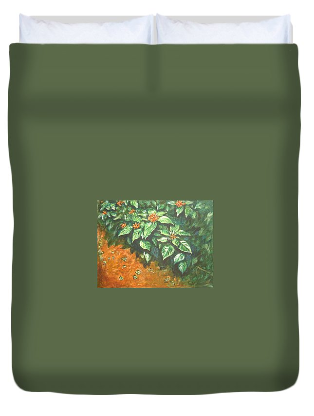 Orange Duvet Cover featuring the painting Flowers And Earth by Usha Shantharam