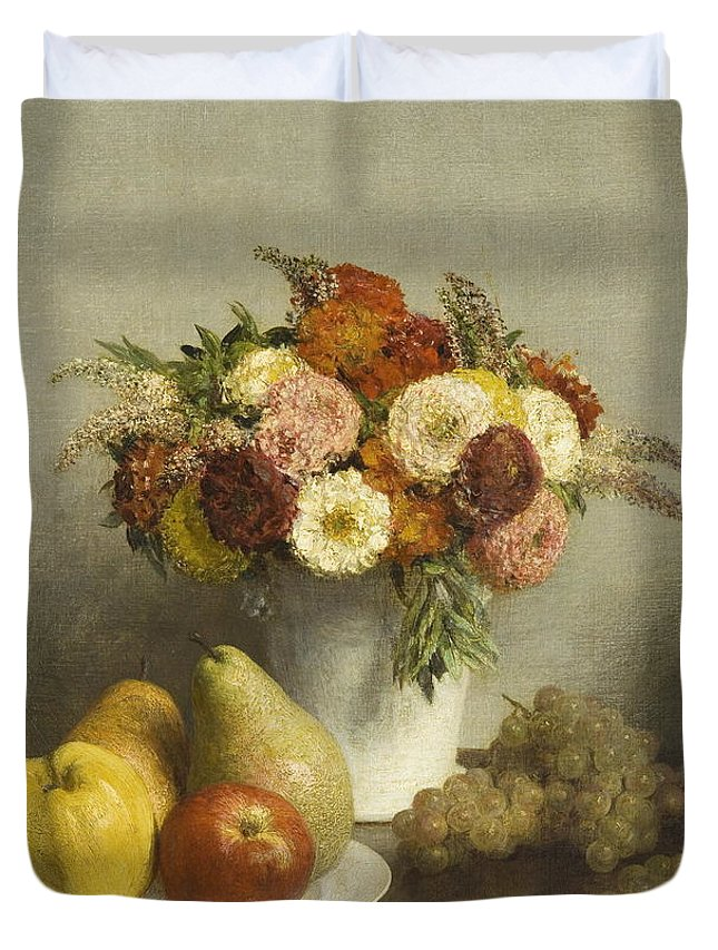 Life Duvet Cover featuring the painting Flowers And Fruit 1865 by Henri Fantin Latour