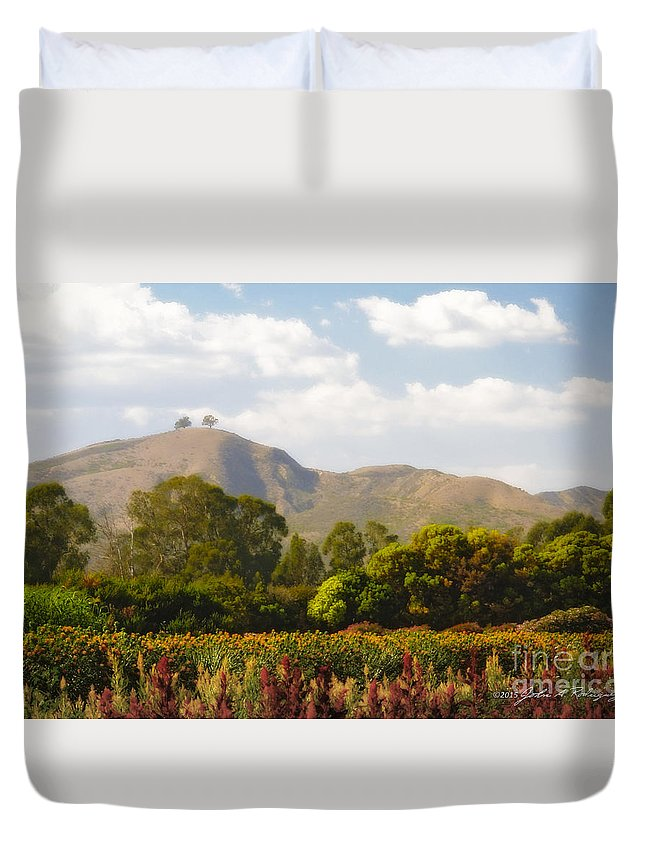 Two Trees Duvet Cover featuring the photograph Flowers And Two Trees by John A Rodriguez
