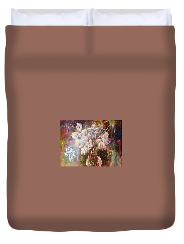 Bouquet Duvet Cover featuring the painting Flowers by Colette Acra