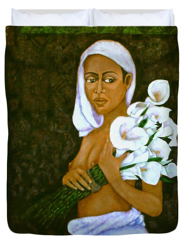 Love Duvet Cover featuring the painting Flowers For An Old Love by Madalena Lobao-Tello