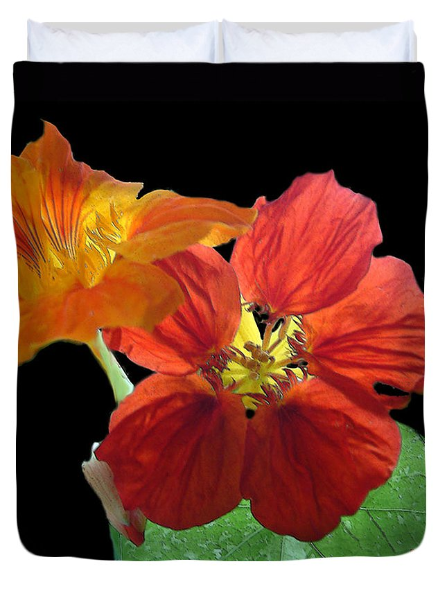 Nasturtiums Duvet Cover featuring the painting Flowers For Ebie by RC deWinter