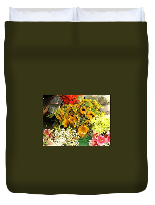 Flowers Duvet Cover featuring the photograph Flowers For Sale by Ian MacDonald
