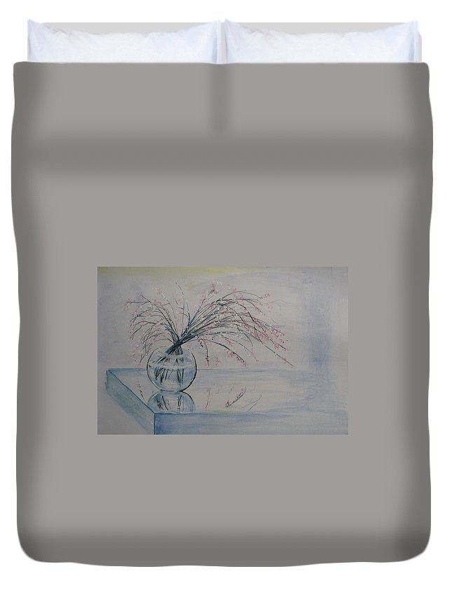 Reflection Duvet Cover featuring the painting Flowers Glass Water And Mirror by Lizzy Forrester