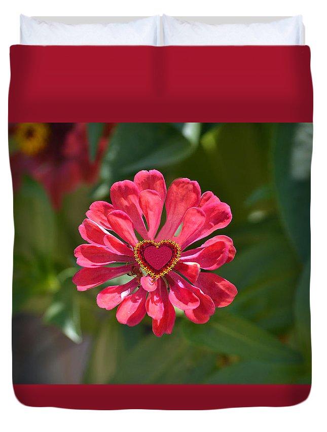 Flower Duvet Cover featuring the digital art Flower's Heart by Ksenia Kozhenkova