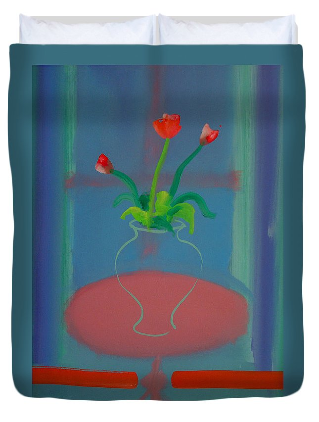 Dufy Duvet Cover featuring the painting Flowers In A Bay Window by Charles Stuart