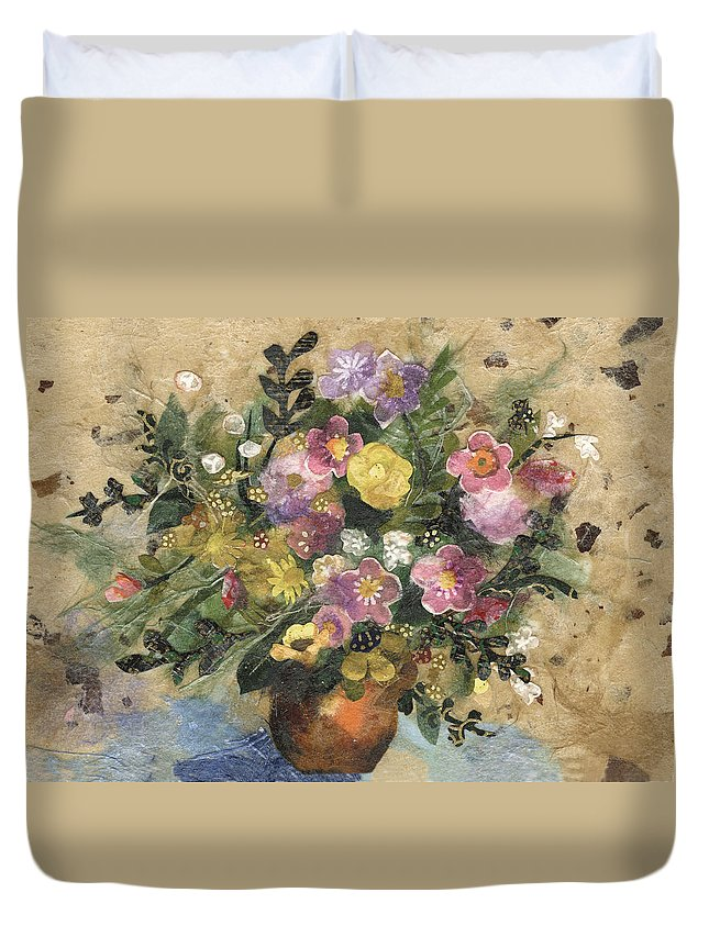 Limited Edition Prints Duvet Cover featuring the painting Flowers In A Clay Vase by Nira Schwartz