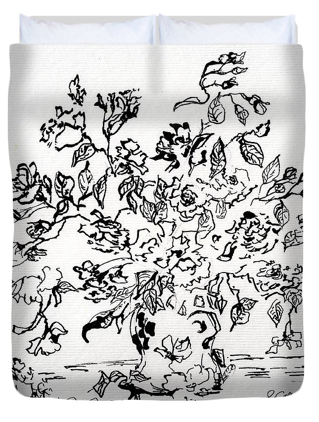 Ink Duvet Cover featuring the drawing Flowers In A Vase Ink Art by Ginette Callaway